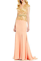 Terani Couture Cap-Sleeve Metallic Lace Bodice Mermaid Gown