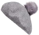 BP Women's Faux Fur Pom Beret - Grey