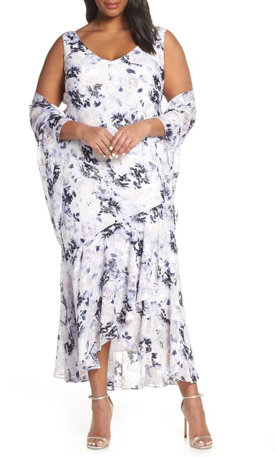 Alex Evenings Floral Burnout High/Low Chiffon Evening Dress with Wrap