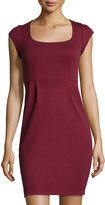 French Connection Manhattan Cap-Sleeve Jersey Dress, Burgundy