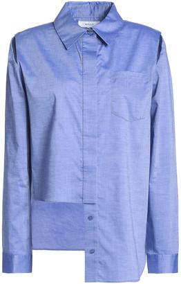 Milly Cassie Asymmetric Cutout Cotton-poplin Shirt