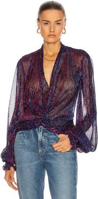Caroline Constas Bette Blouse in Purple   FWRD