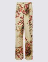 Marks and Spencer Secret Garden Print Wide Leg Trousers