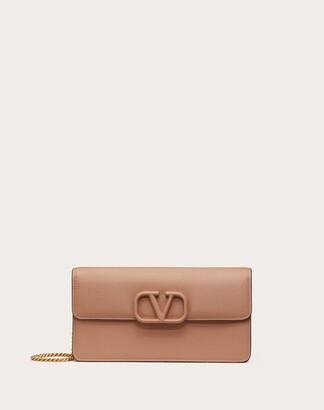 Valentino Vsling Grainy Calfskin Wallet With Chain Strap Women Rubin 100% Pelle Di Vitello - Bos Taurus OneSize