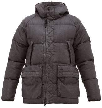 Stone Island Hooded Quilted-down Coated-linen Jacket - Mens - Black