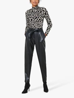 Mint Velvet Faux Leather Tie Waist Trousers, Black