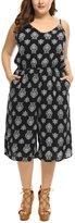 uxcell Agnes Orinda Women's Plus Size Floral Prints Culotte Gaucho Jumpsuit