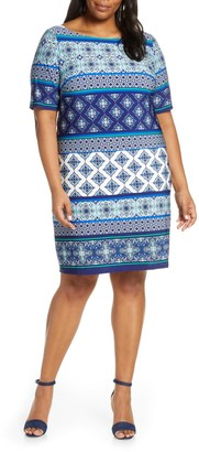 Brinker & Eliza Print Sheath Dress (Plus Size)