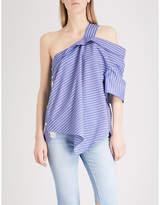 Sjyp Striped one-shoulder cotton top
