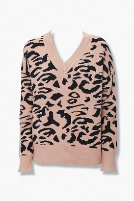 Forever 21 Animal Print V-Neck Sweater