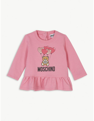 Moschino Glitter graphic frilled cotton-blend jumper 3-36 months
