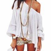 QIYUN.Z Women Slash Neck Bohemian Sexy Lantern Sleeve Crochet Shirts Blouse