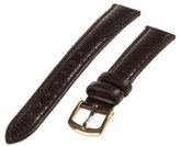 Republic Women's Lizard Grain Leather Watch Strap 13mm Regular Length, Black