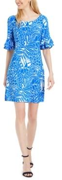 Pappagallo Tropical-Print Ruffled Bell-Sleeve Dress