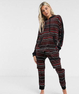 DKNY velour long sleeve hooded top and jogger set with fairisle stipe in black