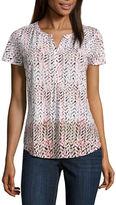 Liz Claiborne Flutter-Sleeve Floral Knit Top - Misses