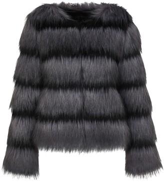 Unreal Fur Sound Wave collarless jacket