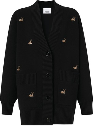 Burberry Embroidered Deer Oversized Cardigan