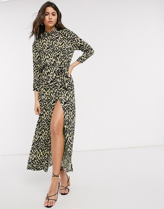 Vero Moda maxi shirt dress with belted waist in animal print