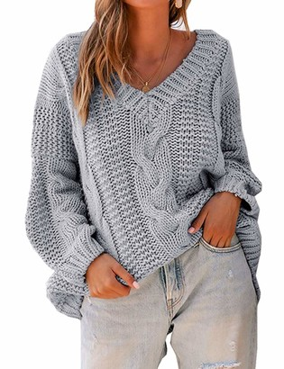 Yidarton Womens Cable Knit V Neck Sweater Casual Batwing Sleeve Loose Pullover Knit Jumper Tops (Blue XL)