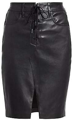 Rag & Bone Women's Lace-Up Leather Pencil Skirt