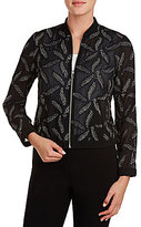 Peter Nygard Embroidered Front Zip Bomber Jacket