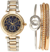 Adrienne Vittadini ADST1654G165 Gold-Tone & Blue Watch & Bracelet Set