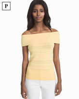 White House Black Market Petite Off-the-Shoulder Yellow Pullover Sweater