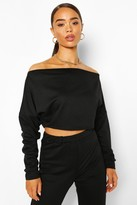 boohoo Off Shoulder Cropped Sweat Top