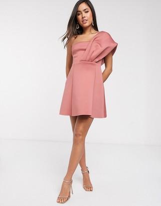 ASOS DESIGN one shoulder scuba aline mini dress in rose