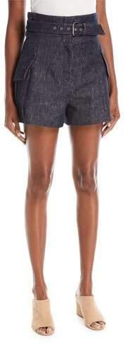 Derek Lam High-Waist Belted Denim Shorts with Patch Pockets
