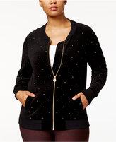 MICHAEL Michael Kors Size Velour Embellished Bomber Jacket