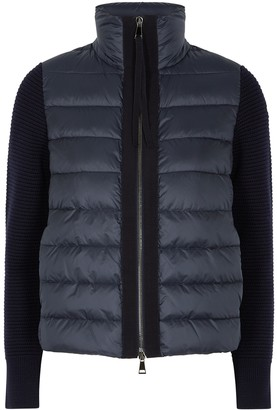 Moncler Tricot Navy Wool And Shell Jacket