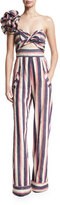 Johanna Ortiz Bahama Striped Floral-Shoulder Jumpsuit, Blue/Pink/White