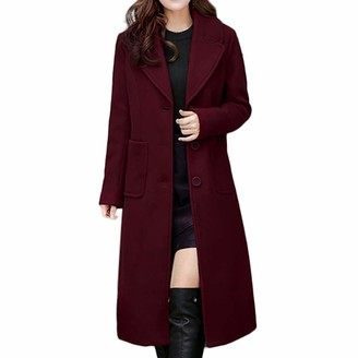 Toamen Women's Coat Toamen Womens Parka Coat Jacket Lapel Faux Wool Pocket Slim Long Outwear Overcoat Windbreaker (Red 8)