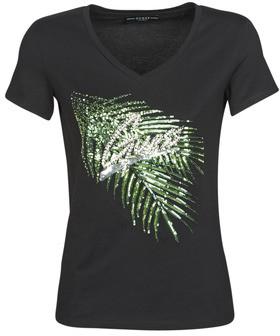 GUESS SS VN ESTELLA TEE women's T shirt in Black