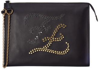 Fendi Karligraphy Studded Leather Pouchette