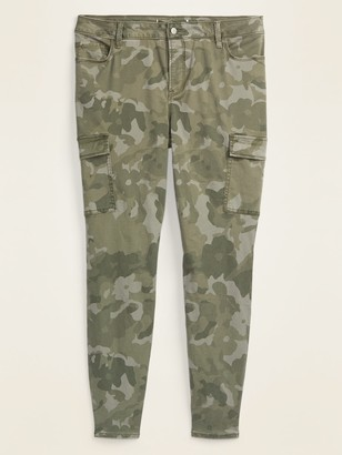Old Navy High-Waisted Secret-Slim Pockets Rockstar Camo Sateen Plus-Size Cargo Pants