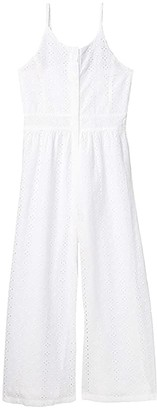 Habitual Eyelet Jumpsuit (Big Kids) (White) Girl's Jumpsuit & Rompers One Piece