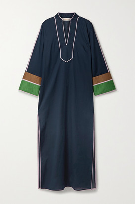 Tory Burch Color-block Cotton-voile Kaftan - Navy
