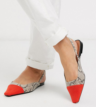 ASOS DESIGN Wide Fit Language slingback ballet flats in snake and red