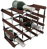RtA Galvanised Steel/Mahogany Pine 16-Bottle Wine Rack, Brown