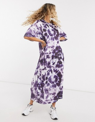New Girl Order oversized midi t-shirt dress with gothic graphic in tie dye