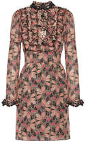 Anna Sui Ruffled Printed Cotton And Silk-blend Mini Dress - Pink