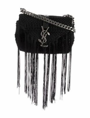 Saint Laurent Monogram Baby Chain Serpent Crochet Crossbody Bag Black