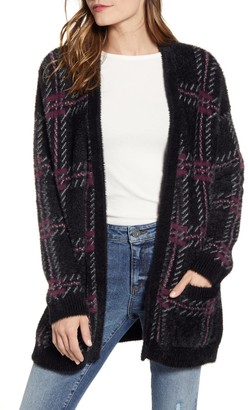 1 STATE Plaid Eyelash Cardigan