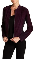 Elie Tahari Zahara Genuine Lamb Suede Lace Jacket