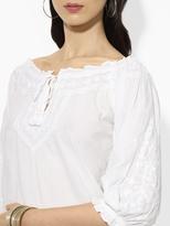 Ralph Lauren Embroidered Smocked Top