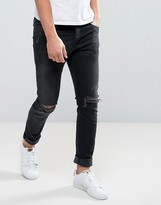 Jack and Jones Intelligence Slim Fit Jeans In Black Wash With Knee Rips