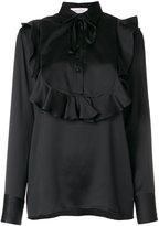Valentino frill bib blouse - women - Silk - 40